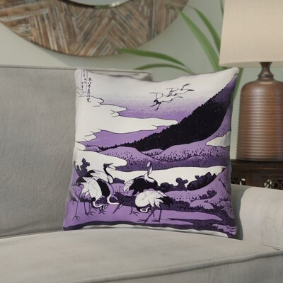 Montreal Japanese Cranes Linen Throw Pillow Size: 16 x 16 , Pillow Cover Color: Purple