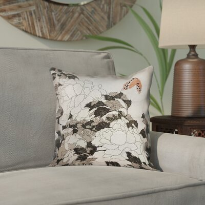 Clair Peonies with Butterfly Outdoor Throw Pillow Color: Orange/Gray, Size: 18 x 18