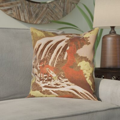 Channelle Horse and Waterfall Square Pillow Cover Size: 16 x 16, Color: Yellow