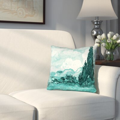 Woodlawn Teal Wheatfield with Cypresses Outdoor Throw Pillow Size: 16 x 16