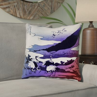 Montreal Japanese Cranes 100% Cotton Throw Pillow Size: 16 x 16 , Pillow Cover Color: Blue/Red