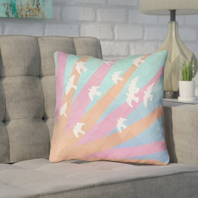 Enciso Contemporary Birds and Sun Throw Pillow Color: Orange/Pink/Blue, Size: 18 H x 18 W