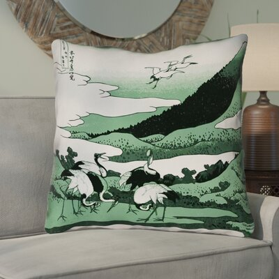 Montreal Japanese Cranes Suede Throw Pillow Size: 14 x 14 , Pillow Cover Color: Green
