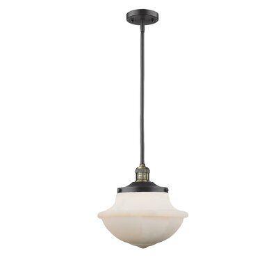 Deserie 1-Light Schoolhouse Pendant Finish: Black/Brushed Brass, Shade Color: White