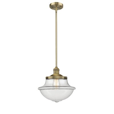 Deserie 1-Light Schoolhouse Pendant Finish: Brushed Brass, Shade Color: Clear