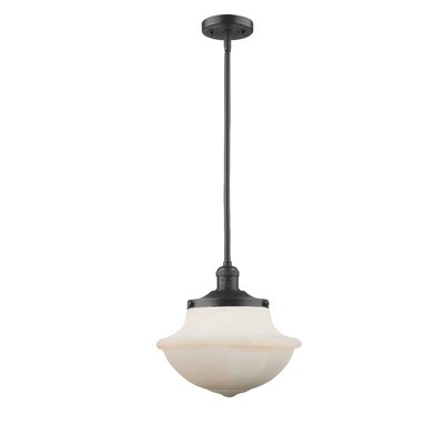 Deserie 1-Light Schoolhouse Pendant Finish: Oil Rubbed Bronze, Shade Color: White