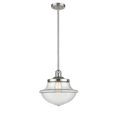Deserie 1-Light Schoolhouse Pendant Finish: Brushed Satin Nickel, Shade Color: Clear