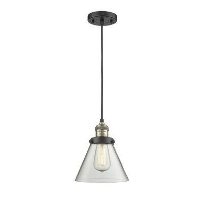 Pachna Glass Cone 1-Light Pendant Color: Black Brushed Brass, Shade Color: Clear, Size: 10 H x 8 W