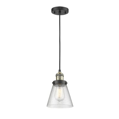Adalberto 1-Light Mini Pendant Finish: Black Brushed Brass, Size: 10 H x 8 W x 8 D