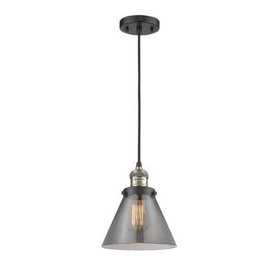 Pachna Glass Cone 1-Light Pendant Color: Black Brushed Brass, Shade Color: Smoked, Size: 10 H x 8 W
