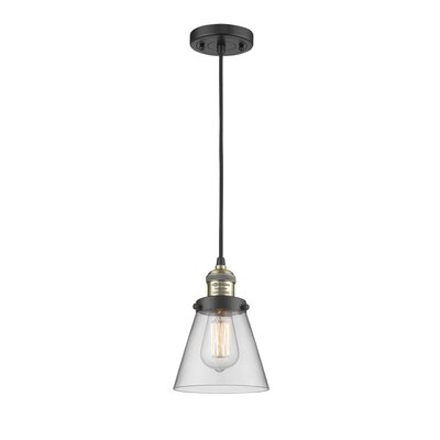 Pachna Glass Cone 1-Light Pendant Color: Black Brushed Brass, Shade Color: Clear, Size: 8.25 H x 6.25 W
