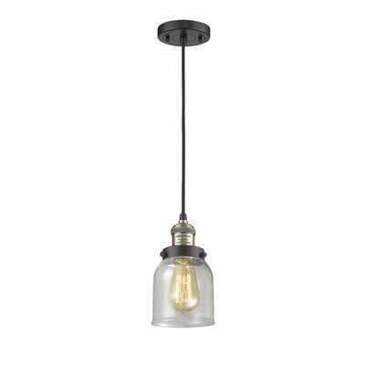 Alvarie 1-Light Mini Pendant Finish: Black/Brushed Brass, Size: 10 H x 5 W x 5 D