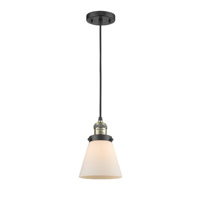 Pachna Glass Cone 1-Light Pendant Color: Black Brushed Brass, Shade Color: Matte White Cased, Size: 8.25 H x 6.25 W