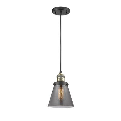 Pachna Glass Cone 1-Light Pendant Color: Black Brushed Brass, Shade Color: Smoked, Size: 8.25 H x 6.25 W