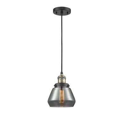 Dupree 1-Light Mini Pendant Finish: Black/Brushed Brass, Shade Color: Smoked