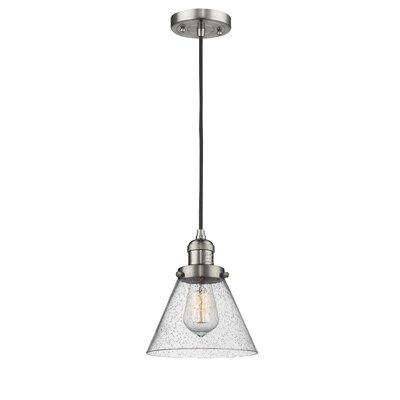 Adalberto 1-Light Mini Pendant Finish: Brushed Satin Nickel, Size: 10 H x 8 W x 8 D