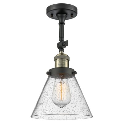 Agustine 1-Light Semi Flush Mount Fixture Finish: Black/Brushed Brass, Size: 12 H x 8 W x 8 D