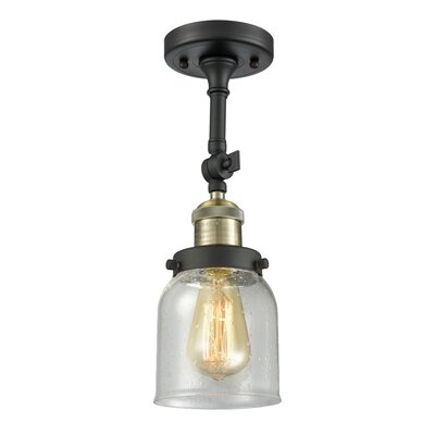 Arsen Small Bell 1-Light Semi Flush Mount Fixture Finish: Black Brushed Brass