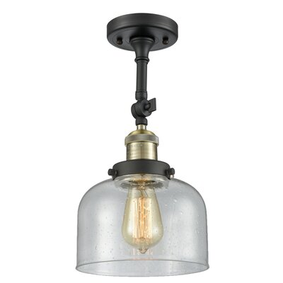 Adne 1-Light Semi Flush Mount Fixture Finish: Black Brushed Brass