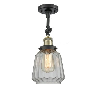 Vinson 1-Light Semi Flush Mount Fixture Finish: Black/Brushed Brass