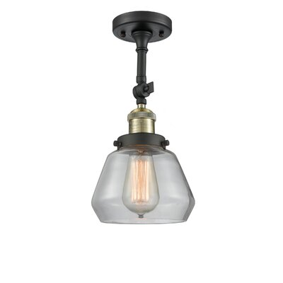 Dupree 1-Light Semi Flush Mount Fixture Finish: Black Brushed Brass, Shade Color: Clear
