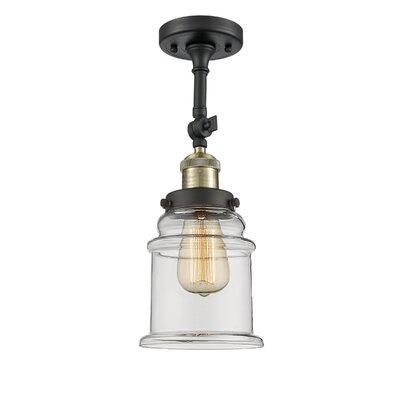 Donson 1-Light Semi Flush Mount Fixture Finish: Black/Brushed Brass