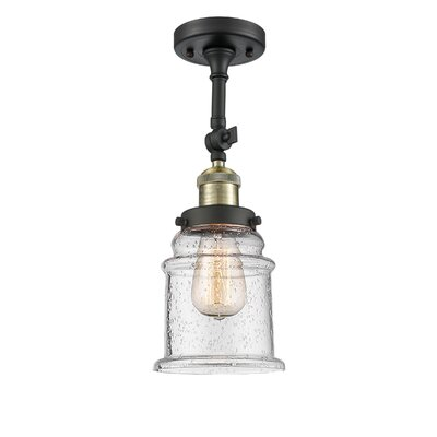 Greeley 1-Light Semi Flush Mount Fixture Finish: Black Brushed Brass