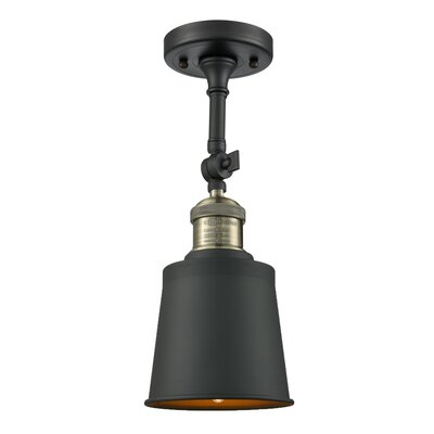 Carn 1-Light Semi Flush Mount Fixture Finish: Black Brushed Brass