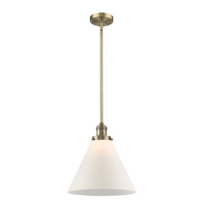 Elonso 1-Light Mini Pendant Finish: Brushed Brass, Shade Color: Matte White Cased