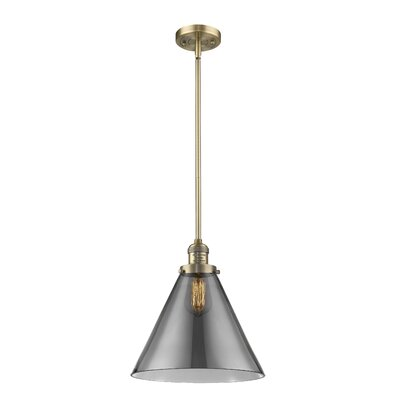 Elonso 1-Light Mini Pendant Finish: Brushed Brass, Shade Color: Smoked