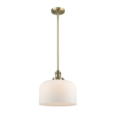 Che 1-Light Mini Pendant Finish: Brushed Brass, Shade Color: Matte White Cased, Size: 13 H x 12 W x 12 D