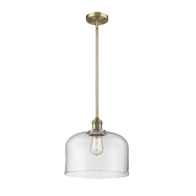 Che 1-Light Mini Pendant Finish: Brushed Brass, Shade Color: Clear, Size: 13 H x 12 W x 12 D