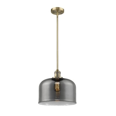 Che 1-Light Mini Pendant Finish: Brushed Brass, Shade Color: Smoked, Size: 13 H x 12 W x 12 D