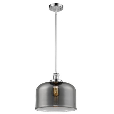 Che 1-Light Mini Pendant Finish: Polished Chrome, Shade Color: Smoked, Size: 16 H x 12 W x 12 D