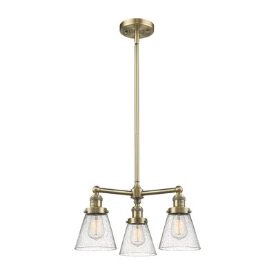 Adalwen Small Cone 3-Light Mini Chandelier Finish: Antique Brass