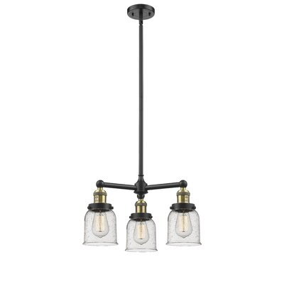 Adalbert Small Bell 3-Light Mini Chandelier Finish: Black Brushed Brass