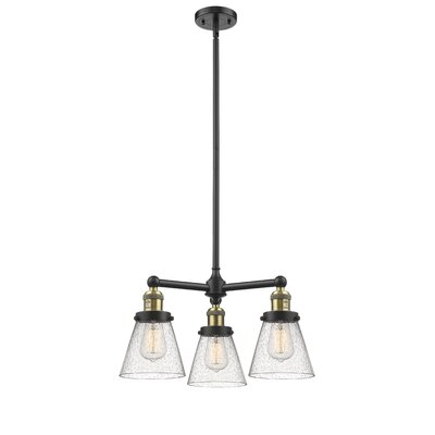 Adalwen Small Cone 3-Light Mini Chandelier Finish: Black Brushed Brass