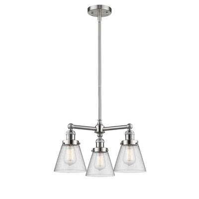 Adalwen Small Cone 3-Light Mini Chandelier Finish: Brushed Satin Nickel