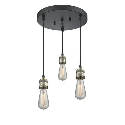 Bare Bulb 3-Light LED Cluster Pendant Finish: Black Brushed Brass