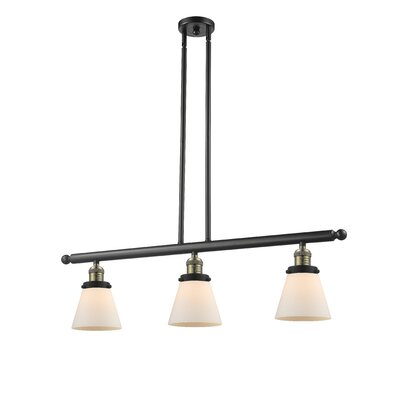 Glass Cone 3-Light Kitchen Island Pendant Finish: Black Brushed Brass, Shade Color: Matte White Cased, Size: 36 H x 36 W x 5 D