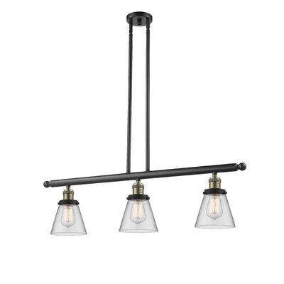 Glass Cone 3-Light Kitchen Island Pendant Finish: Black Brushed Brass, Shade Color: Clear, Size: 36 H x 36 W x 5 D