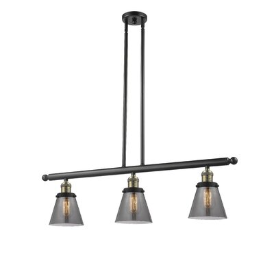 Glass Cone 3-Light Kitchen Island Pendant Finish: Black Brushed Brass, Shade Color: Smoked, Size: 36 H x 36 W x 5 D