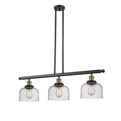 Adalhard 3-Light Kitchen Island Pendant Finish: Black/Brushed Brass