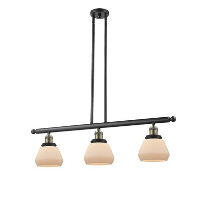 Dupree 3-Light Kitchen Island Pendant Finish: Black Brushed Brass, Shade Color: Matte White Cased