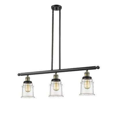 Greeley 3-Light Kitchen Island Pendant Finish: Black Brushed Brass