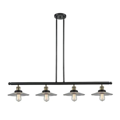 Halophane 4-Light Kitchen Island Pendant Finish: Black Brushed Brass