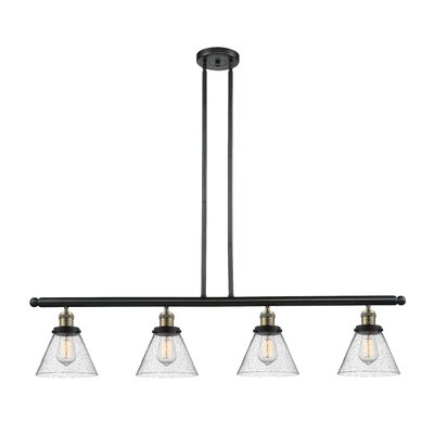 Fabio 4-Light Kitchen Island Pendant Finish: Black Brushed Brass
