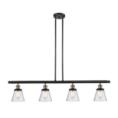 Alarick 4-Light Kitchen Island Pendant Finish: Black Brushed Brass