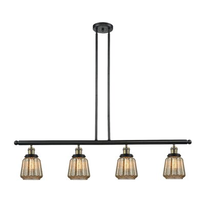 Vinson 4-Light Kitchen Island Pendant Finish: Black/Brushed Brass