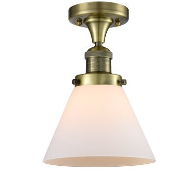 Fabio 1-Light Semi Flush Mount Fixture Finish: Antique Brass, Shade Color: Matte White Cased